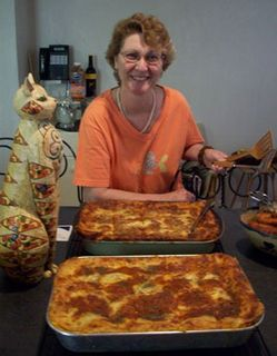 Joanne with 23 pounds of lasagna