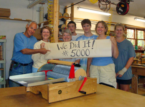 Otto, Joanne and the crew celebrate the birth of Drum Carder 5000